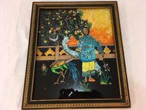 japanese culture inspired women with peacock bonsai tree glass covered painting  00871 in Huntington Beach, California