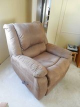 ROCKER RECLINER_LIKE NEW MICRO-SUEDE_LT BROWN in DeKalb, Illinois