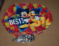 25 MYLAR MICKEY MOUSE PLUTO BALLOONS & 25 SMILEY FACE WEIGHTS & RIBBON in Glendale Heights, Illinois