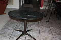 Lazy Susan (Swivel) Cultured Marble Top Steel Bottom Side Table in Spring, Texas