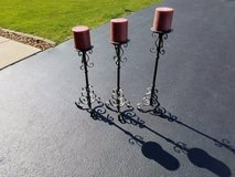 Three Candle Holders With Candles in Lockport, Illinois