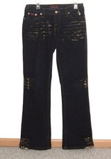 Baby Phat Dark Blue GOLD WHISKERED Boot Cut Jeans Womens 9 x 33 Juniors Tall in Morris, Illinois