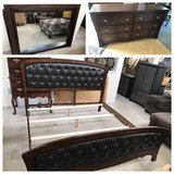 Brown Leather Tufted King Bedframe, 6 Drawer Dresser and Mirror. in Orland Park, Illinois
