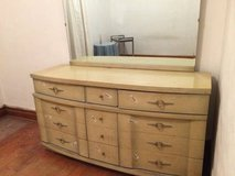 Mid Century Modern Blonde Dresser and Mirror in Bartlett, Illinois