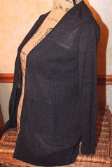 Ann Taylor LOFT Black Subtle 2-Tone Stripe Lightweight Cardigan, Small in Aurora, Illinois
