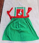 Green Christmas Apron, Red Accents, Embroidered Goose, Red Ribbon Tie in Aurora, Illinois