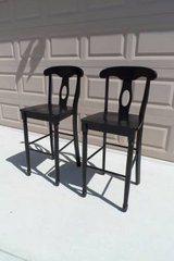 Black Solid Wood Counter/Bar Stools, Set of 2 in Fairfield, California