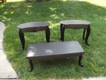 2 END TABLES 1 COFFEE TABLE  ALL WOOD BLACK in Tinley Park, Illinois