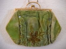 Antique Wrist Bag & Chain Cloth Green beaded & Glass 1870 - 1890 in Temecula, California