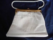 Evening Bag Gold & White Enameled Metal Beadlite fish scale Mesh Bag in Temecula, California
