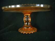 Rare Fantastic Pedestal Cake Stand 2 Tone Crystal & Amber Vintage Art in Lake Elsinore, California