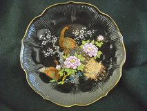 Pre WW 2 BLACK PORCELAIN PLATE HAND PAINTED PEACOCK TRIMMED IN GOLD in Temecula, California