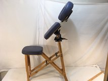 vintage stronglite natural wooden padded blue massage chair / headrest  01063 in Fort Carson, Colorado
