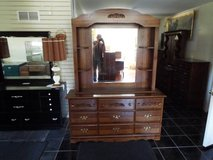 Dresser with Mirror & Hutch*9 Drawers*New slide*Ex Cond in Fort Leonard Wood, Missouri