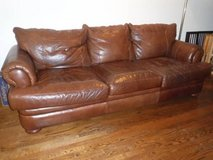 Sale Pending - Large Brown Leather Comfy Couch / Sofa in Joliet, Illinois