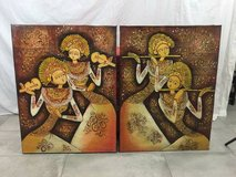 Hand painted Balinese art on canvas in Yucca Valley, California