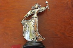 flower angel candle holder metal with wooden base in Kingwood, Texas