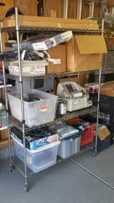 4-Tier Adjustable Wire Shelving Rack in Chrome with casters in Morris, Illinois