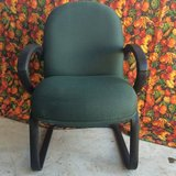 Chair  Rapture Upholstered  Green, Black Molded Arm Rests and Legs in Bellaire, Texas