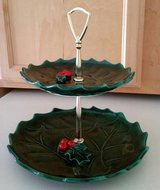 VINTAGE LEFTON CHRISTMAS HOLLY & RED BERRY TWO-TIERED CERAMIC  SERVING TRAY in Algonquin, Illinois