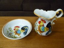 Handpainted Ceramic Rooster Pitcher and Bowl Set From Italy in Palatine, Illinois