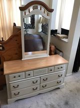 7 Drawer Beige and Maple Dresser + Mirror in Westmont, Illinois