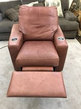 Brown Leather Recliner chair with cup holders in Joliet, Illinois