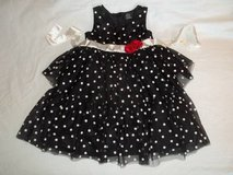 Girls CHRISTMAS Dress Black w/ White Polka Dot Tiered Ruffle size 6 in Silverdale, Washington