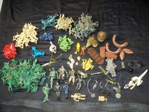 Army Men toys... green blue yellow cream red plus trees, big army men in Silverdale, Washington