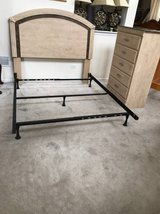 Antique White Finish Faux Marble Headboard, Dresser, Metal Bedframe-Queen/Full in Joliet, Illinois