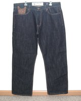 Akoo Relaxed Fit Dark Blue Flap Pocket Denim Jeans Mens Tag 40 Measures 39 x 30 in Morris, Illinois