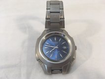 casio quartz blue face silver band 10 year battery water resistant 50m watch  00779 in Fort Carson, Colorado