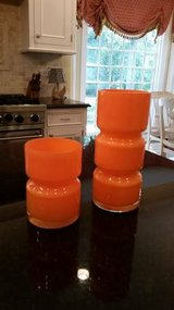 Crate and Barrel Orange Totem Vases in Bolingbrook, Illinois