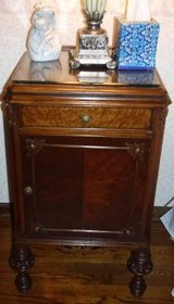 Antique 1880s French Night Stand / Side / Accent Table w/Glass Top in Joliet, Illinois