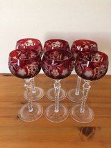 Hungarian Crystal Wine Goblets - Set of 6 - Ruby Red in Bolingbrook, Illinois