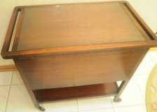 Antique Wooden Mahogany Tea Cart Drop Sides Tray, Glass Top Midcentury Bar Cart in Plainfield, Illinois