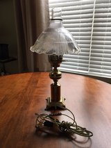 Brass Bedside Lamp with Chimney and Glass Shade**Excellent Condition**# 2 in Elgin, Illinois