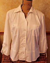Christopher & Banks White Stretch Peplum Blouse 3/4 Gathered Sleeves, Large in Aurora, Illinois