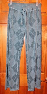 Juicy Couture Teal Velour Argyle Design Track/Sweat Pants, Small - So Comfy! in Aurora, Illinois