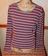 Striped Long Sleeve Knit Top in Burgandy/Gray/White/Black - Stretchy, Small in Westmont, Illinois