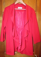 Calvin Klein Red Open Front Draped Jacket with Collar Flounce, Lined, XL in Aurora, Illinois