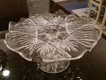 Cake Pedestal / Plate - Clear Glass - Cute Pattern in Westmont, Illinois