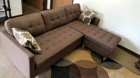 New Linen Chocolate Mini Sectional Sofa FREE DELIVERY in Oceanside, California