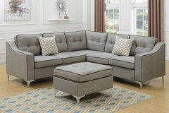 New Modular Grey Linen Sectional and Ottoman FREE DELIVERY in Miramar, California