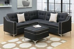 New Black Linen Sectional and Ottoman FREE DELIVERY in Miramar, California