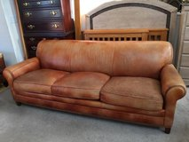 Three Seater Leather  Sofa with Nailhead Trim -Brown in Naperville, Illinois