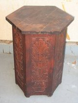 VINTAGE ANTIQUE SOLID WOOD PLANT STAND - Mahogany - Hand Carved Design in Naperville, Illinois