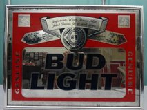 VINTAGE 1990 ANHEUSER BUSCH BUD LIGHT BEER FRAMED BAR MIRROR in Travis AFB, California