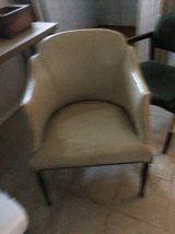 Reduced  MCM Vinyl Bucket Chair and Footstool or side table in Chicago, Illinois