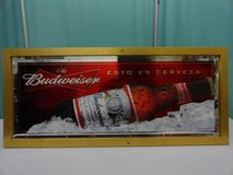 VINTAGE 2007 ANHEUSER BUSCH BUDWEISER BEER FRAMED BAR MIRROR in Travis AFB, California
